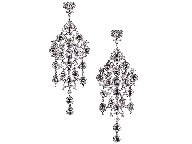 A pair of large chandelier diamond earrings,