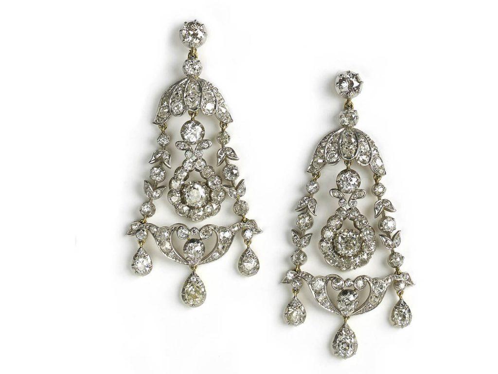 antique diamond chandelier drop earring