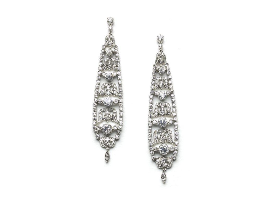 A pair of diamond drop earrings, s