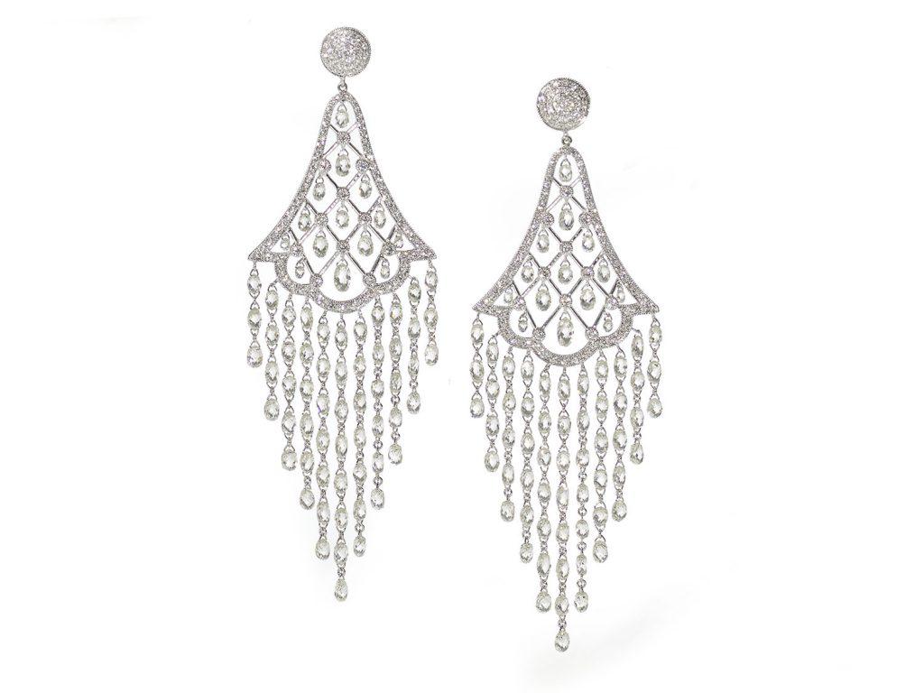 diamond earrings, set with round brilliant-cut diamonds, with briolette cut diamond drop
