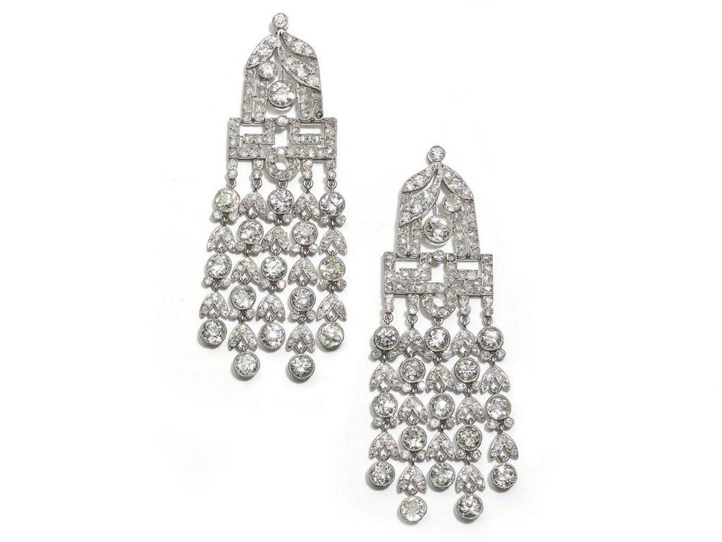 f French, Art Deco diamond drop earring
