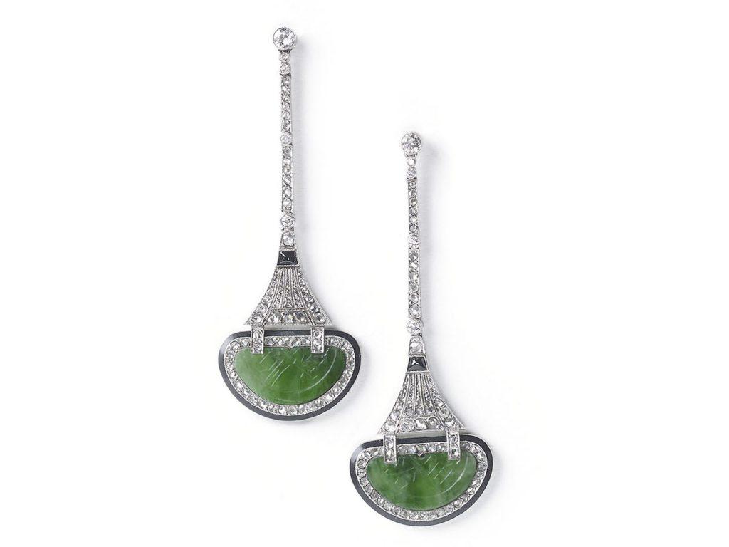 Art Deco jade diamond and black onyx drop earring