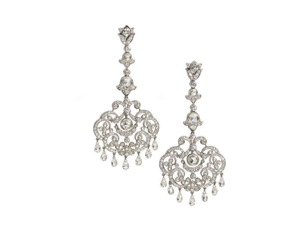 A pair of diamond drop earrings,