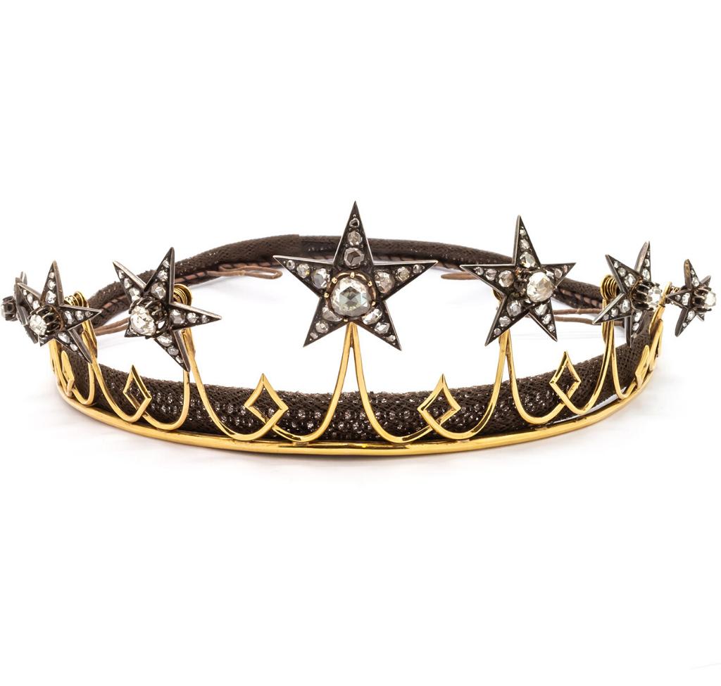 Antique Diamond Star Tiara, Silver Upon Gold, Circa 1850 - Antique Star Jewellery Victorian Era - Moira Fine Jewellery